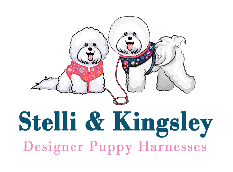 Stelli and Kingsley – Designer Puppy Harnesses